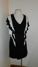 UK 12  Summer V Neck Ruffle Dress in Black & Cream Viscose by French Connection