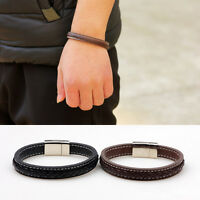 Mens Fashion Black Brown Leather Silver Stainless Steel Charm Bracelet Bangle