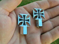 ~ MALTESE CROSS PAIR VALVE CAPS BADGES MOTORCYCLE *NEW!* Harley Davidson Emblems