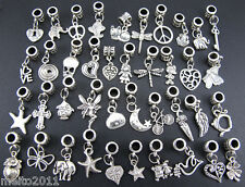 40pcs Lots Wholesale Tibetan Silver Charm  Fit European Chain Bracelet Hot