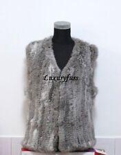 On sale knit rabbit fur vest natural grey free shipping