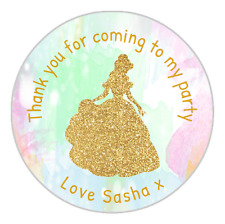 24 Personalised Gold Princess Watercolour Party Birthday Stickers Labels Seals