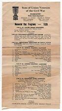 1939 MEMORIAL DAY PROGRAM Sons Union Veterans Civil War SUVCW Rhode Island RI
