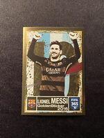 Lionel Messi 2016-17 Panini FIFA 365 #3 Gold Foil Sticker Barcelona