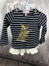 Juicy Couture Baby Girls Scottie Top Nautical Navy Blue White Gold Sz 12-18 M