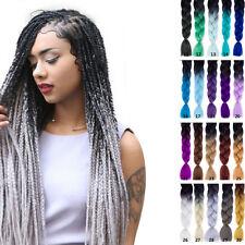 "24"" Ombre Beauty Color Braiding Hair Purple Grey Crochet Kanekalon Braid Hair#28"
