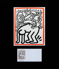 """Keith Haring""""Fight AIDS Worldwide""""silkscreen&UnitedNations stamp framed together"""