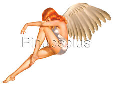 Retro Vintage Sexy Redheaded Angel Pinup Girl Waterslide Decal Sticker S327