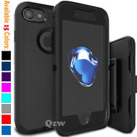 For iPhone 6 7 8 Plus Shockproof Rugged Cover Case Belt Clip + Screen Protector