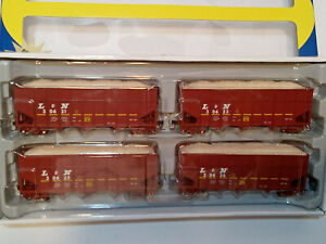 Athearn L & N 4 pack 40' Wood Chip Ribbed Hopper Cars  HO scale 95658