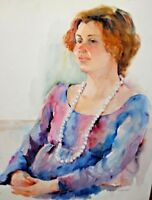 Unframed Watercolor Painting - Portrait Of Sitting Woman Wearing Pearl Necklace