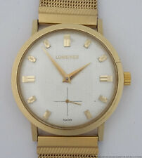Retro Deco 14k Gold Mens Longines Mid Century Textured Dial Wrist Watch