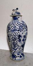 Antike handgemalte Sake Flasche China Deckelvase blau weiss Porzellan