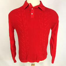 Vintage 50s 60s Sears Red Retro Mod Atomic Disco Hippy Mens Knit Surf Polo Shirt