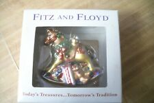 Fitz & Floyd Glass Old Fashioned Rocking Horse With Toys Christmas Ornament Rare