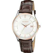 Accurist Classic Shiny White Dial Brown Leather Strap Gents Watch Ms648