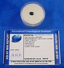 Natural Blue Oval Sapphire 0.98 Cts Certified Appraisal $950 AGI BS18