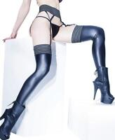 New Coquette D1879 Elastic Mesh Top Thigh High Stockings