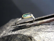 18k yellow gold & sterling silver ring with Green Tourmaline.Handmade UNIQUE.