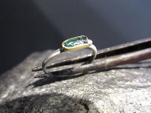 Tourmaline ring. 18k Yellow gold & sterling silver ring with Green tourmaline