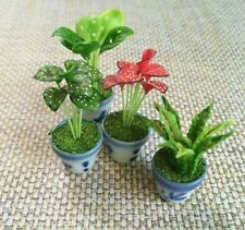 Set of 4 Mixed Mini Dollhouse Miniature Clay Plants in Ceramic Pots Home Decor