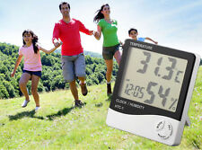Digital LCD Thermometer Hygrometer Temperature Humidity Meter Gauge Clock WOAU