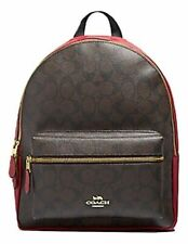New Authentic Coach F32200 Medium Charlie Backpack Shoulder Bag Purse Brown Red