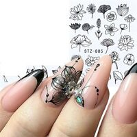 Nail Art Water Decals Stickers Transfers Spring Summer Black Flowers Floral 885