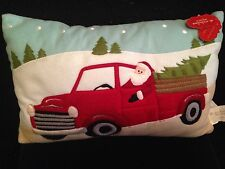"St. Nicholas Square Santa in red truck Christmas Tree Decorative Pillow 17""x11"""