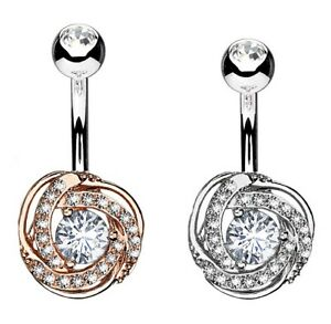 Small Round Rose Belly Bar - Clear Crystals - 6mm 8mm 10mm 12mm 14mm 16mm 19mm
