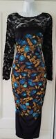 Womens Phase Eight Black Teal Lace Stretch Slinky Ruched Cocktail Party Dress 14