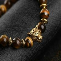 Fashion Men's Yellow Tiger Eye Gold Head Leopard Beaded Yogo Stretch Bracelet
