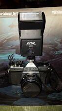 Pentax K1000 35mm SLR Film Camera with 50mm lens & Vivitar Electronic Flash