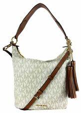 MICHAEL KORS ELANA MK Logo Vanilla PVC Leather LG Shoulder  Bag Msrp $378