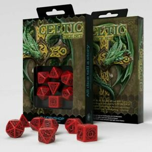 Celtic 3D Revised Würfel Set rot & schwarz (7) Dice Set