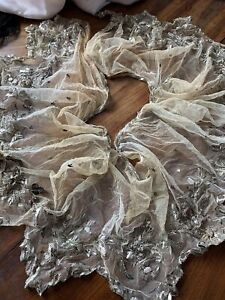 Victorian Metal Lace Silver Metal Flounce 54insx12ins