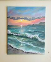 "Art 14""/11""oil painting,sunset,ocean,waves Seascape, landscape,"