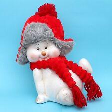 ceramica bambini nella neve sdraiato 32 cm pupazzo di con berretti stoffa DOLCE