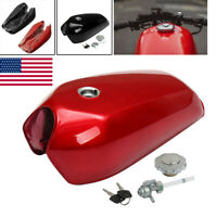 9L/2.4 Gallon Motorcycle Vintage Fuel Gas Tank Cap Switch For Honda Cafe Racer