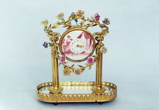 Piccole francese placcati oro bronzo STUPENDO OROLOGIO DA TAVOLO CON porz ELAN fiori