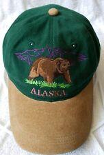 Alaska Green Corduroy Suede Cap Hat Souvenir Green Bear Embroidered Adjustable