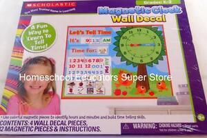Scholastic Magnetic Clock Wall Decal Homeschool Classroom Teacher Tell Time NEW
