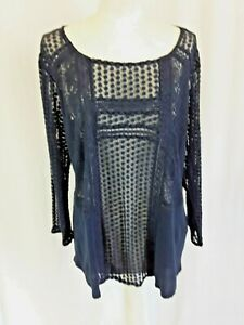 Lucky Brand Sheer Top Size XL 3/4 Sleeve Embroidered Net Lace Navy Blue EUC LN