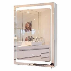 Homfa LED Spiegelschrank Badezimmerspiegel Badschrank mit Beleuchtung Hochglanz