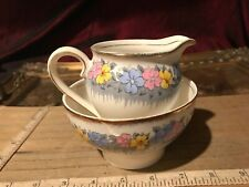 Bell China Floral Yellow Pink Blue Creamer & Open Sugar Bowl