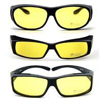 Anti-Glare Night Vision Driving Sunglasses Yellow Lens Over Wrap Around Glasses