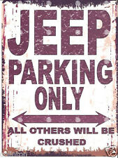 JEEP PARKING SIGN RETRO VINTAGE STYLE 6x8in 20x15cm garage workshop art