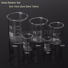 5 10 25 50 100ml Low Pyrex Glass Beaker Borosilicate Measuring Lab Glassware