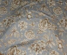 P KAUFMANN FLORAL FABRIC ~ GRAY BEIGE WHITE ~ UPHOLSTERY / CURTAINS *BTY