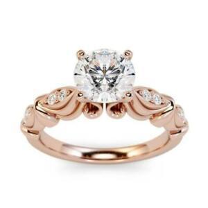 1.10 Ct Round Cut Moissanite Engagement Proposal Ring 14K Rose Gold Size K